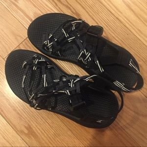 Black and white Chaco sandals
